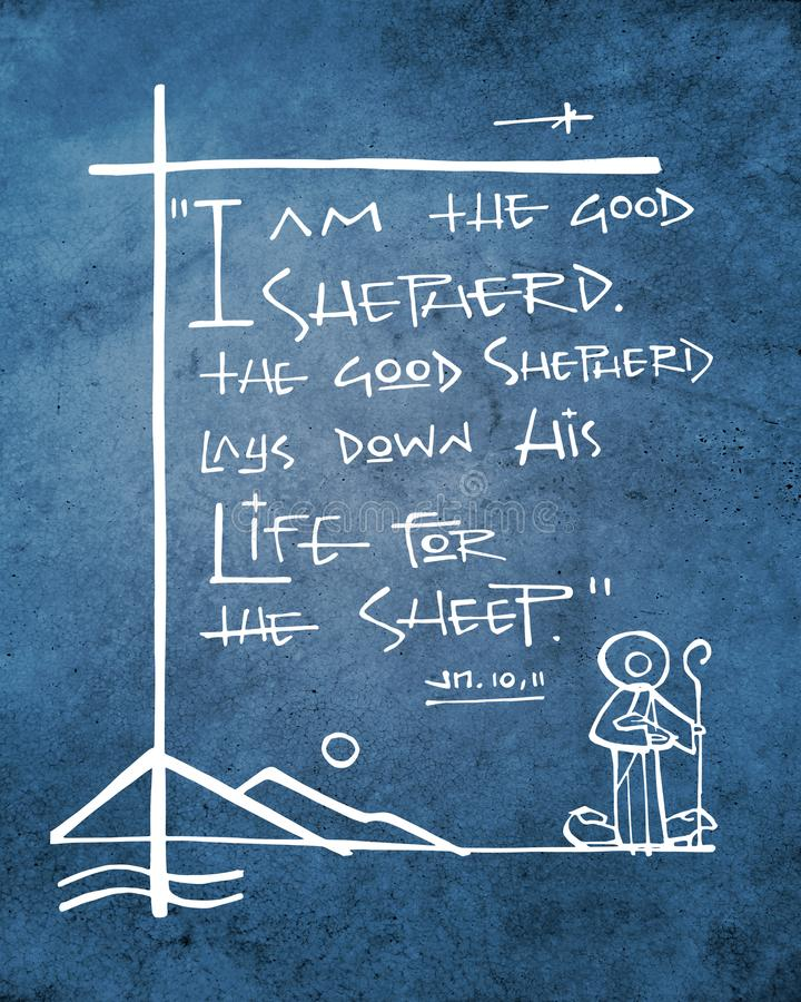 Bliblical phrase: I am the good Shepherd. Hand drawn illustration or drawing of the biblical phrase: I am the good shepherd, the good shepherd lay down his life vector illustration