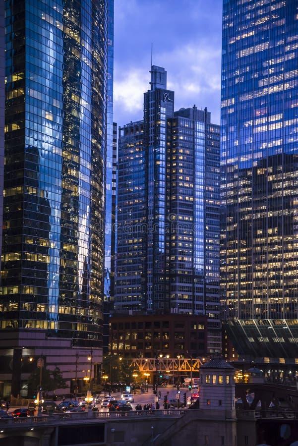 Blick auf die ikonische Architektur in Downtown , Chicago, Illinois, USA stockfoto