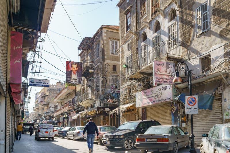 Blick auf die Straße Sidon Saida Libanon lizenzfreie stockfotos