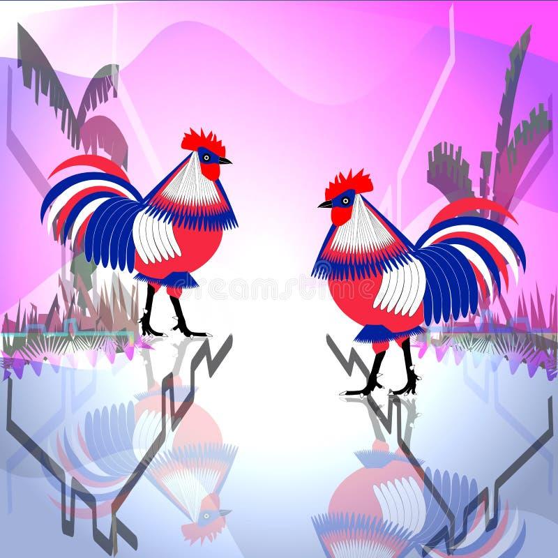 Blick mit zwei dreifarbiger Hühnerhähnen auf einander stock abbildung