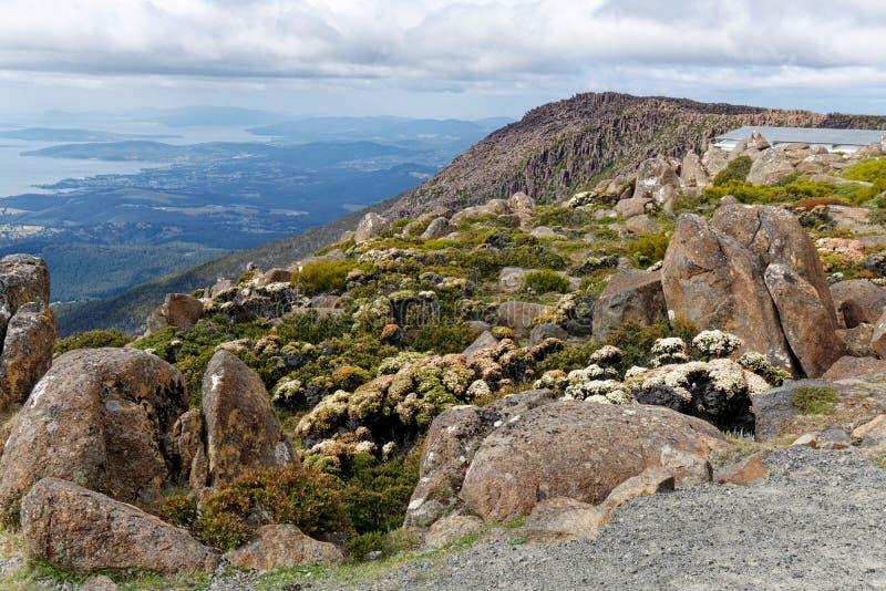 Blick-vom Berg-Wellington auf Hobart, Tasmanien, Australien stockfotos
