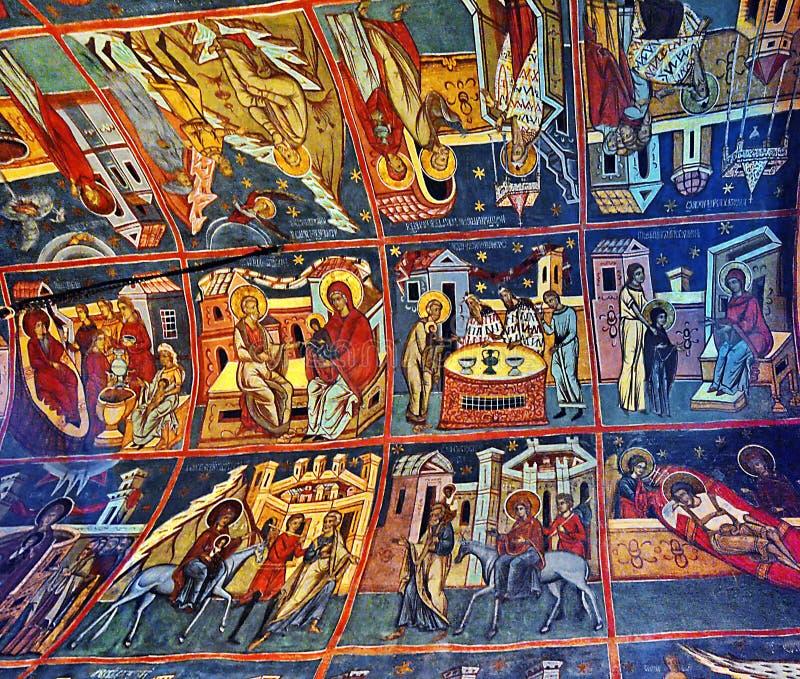 Blidka klosterfreskomålningen Rumänien arkivfoto