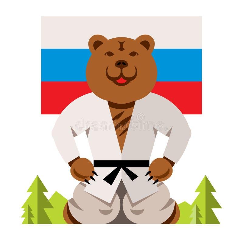 Blidkar den ryska björnen för vektorn begrepp Färgrik komisk tecknad filmillustration för plan stil stock illustrationer