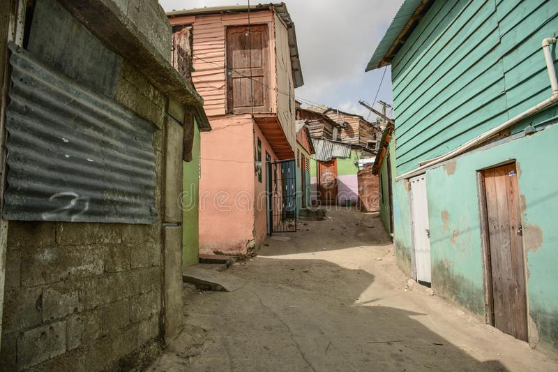 A Blighted Urban Area in the Domincan Republic. A view of a blighted urban area in Los Guandules near Santiago, Dominican Republic royalty free stock image