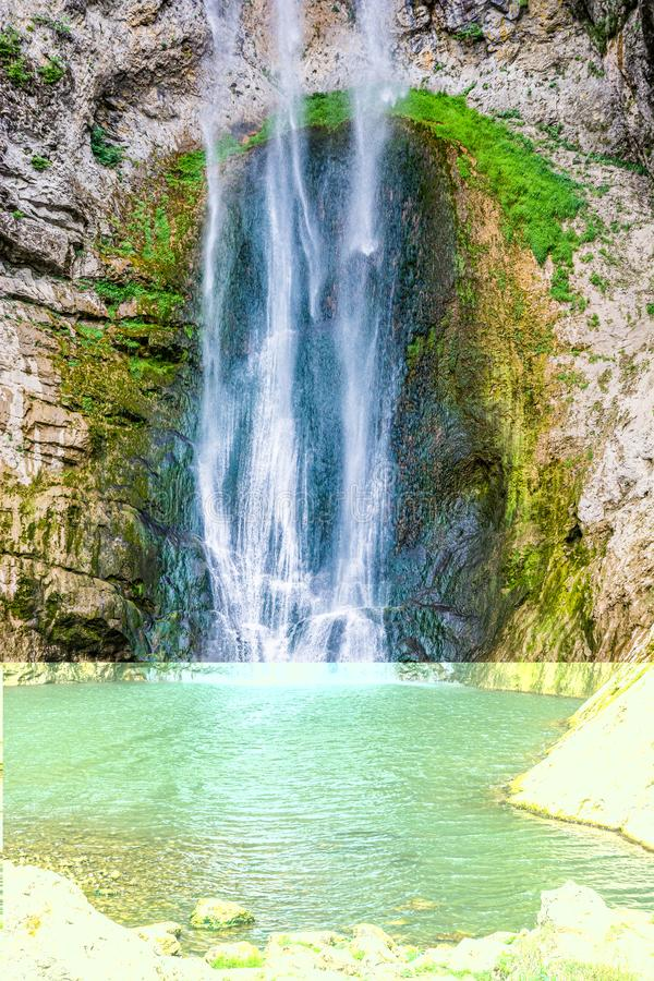 Bliha falls, water of the Bliha drops from 56 meters high cliff - is waterfall Blihe in Bosnia and Herzegovina.  stock images