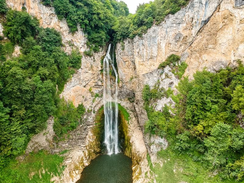 Bliha falls, water of the Bliha drops from 56 meters high cliff - is waterfall Blihe in Bosnia and Herzegovina.  royalty free stock photo
