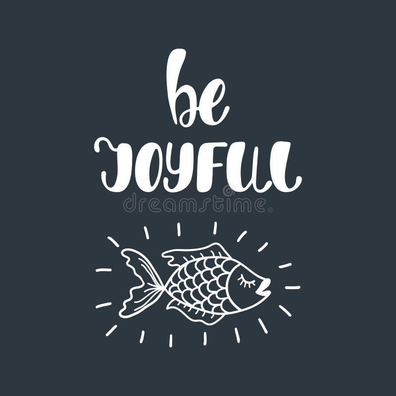 Blij ben Inspirational citaat over geluk stock illustratie