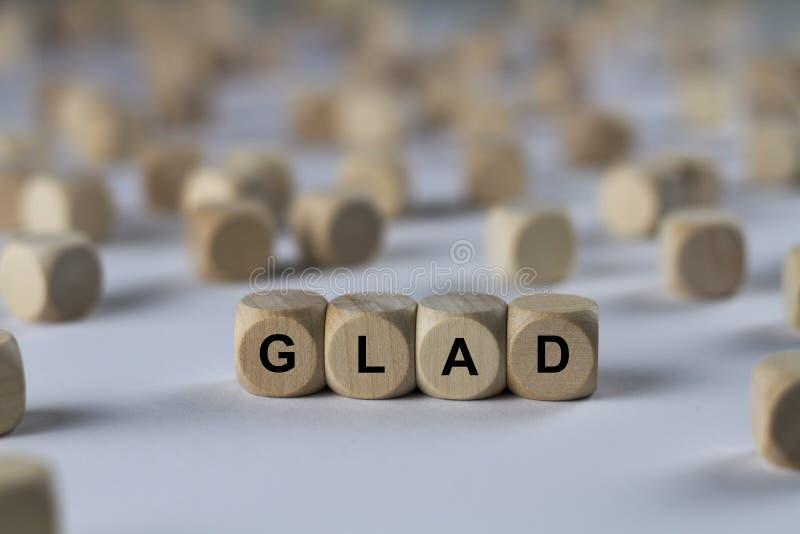 Blij - kubus met brieven, teken met houten kubussen stock afbeeldingen