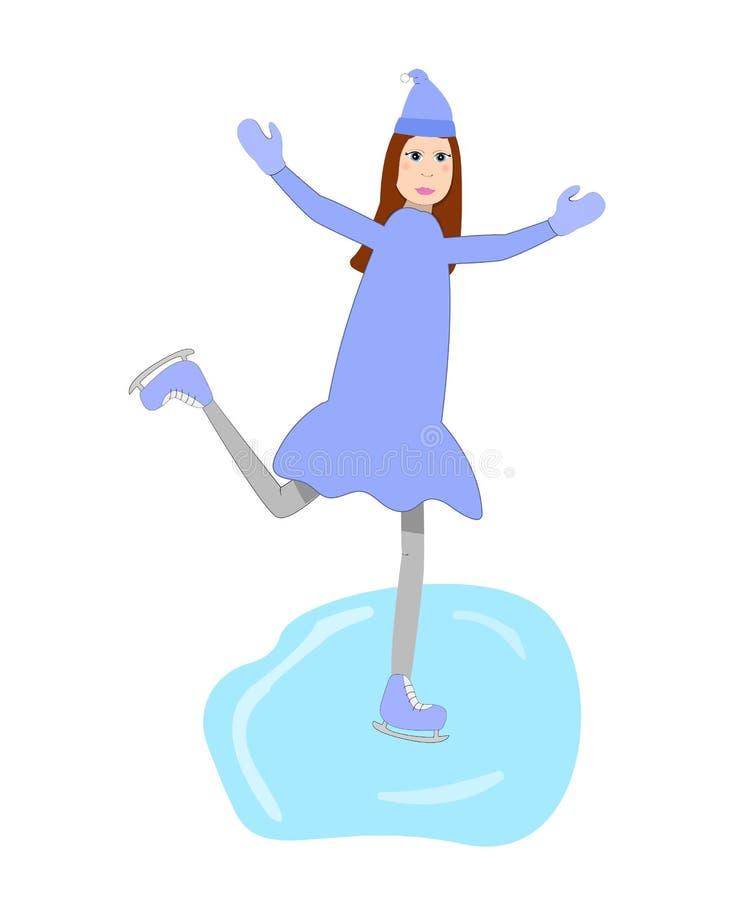 Blij meisje die op de ijsbaan schaatsen stock illustratie