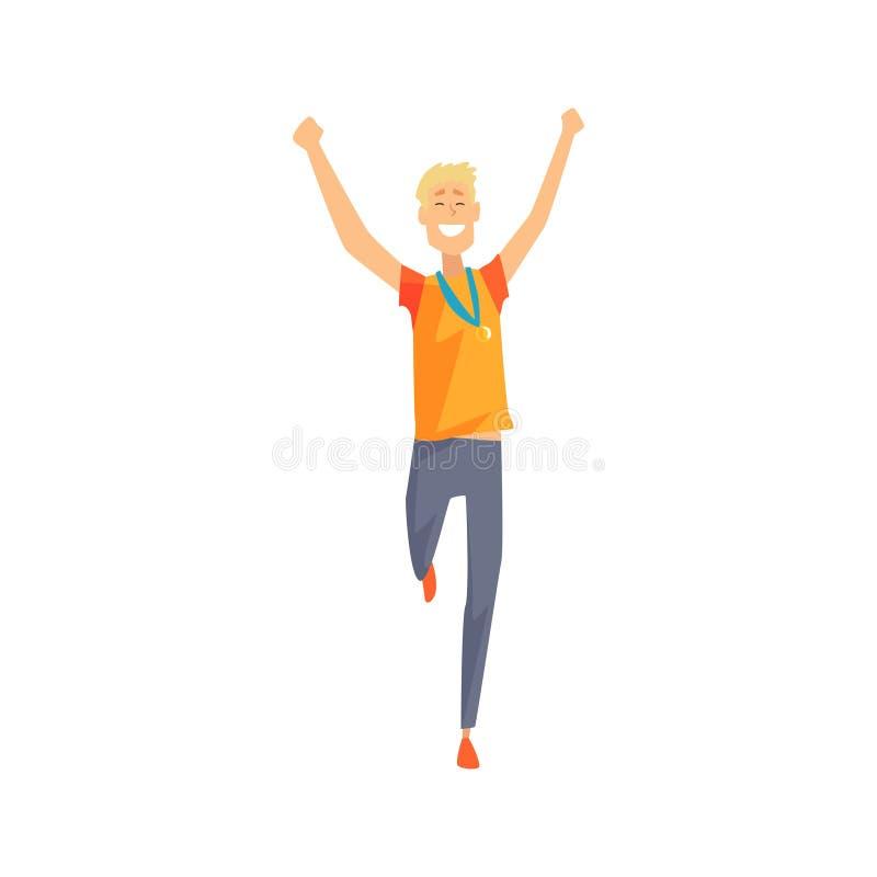 Blij mensenkarakter die met omhoog handen lopen Beeldverhaal mannelijke atleet met gouden medaille op zijn borst Jonge kerel in s vector illustratie