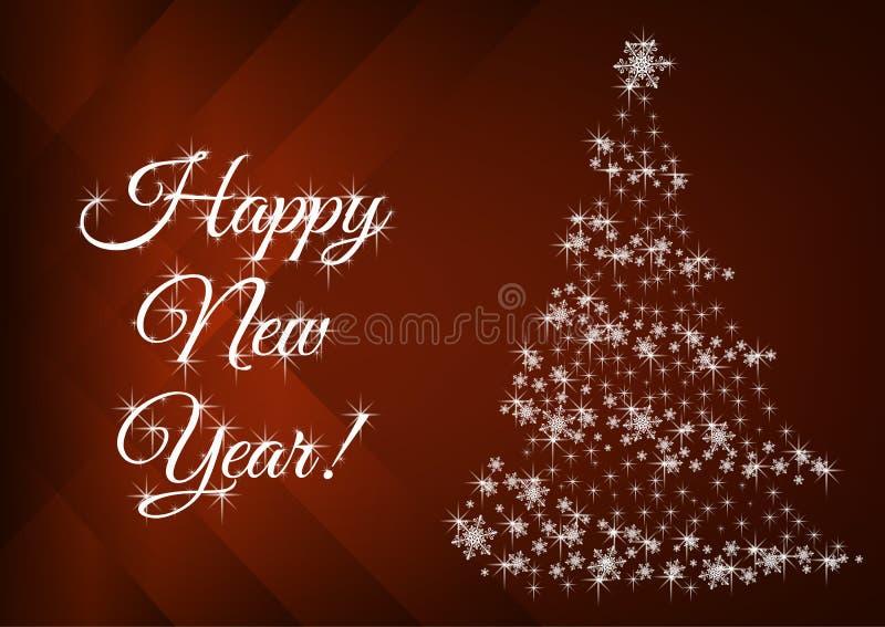 Blij nieuwjaarsgroeten met abstracte kerstboom royalty-vrije stock afbeelding