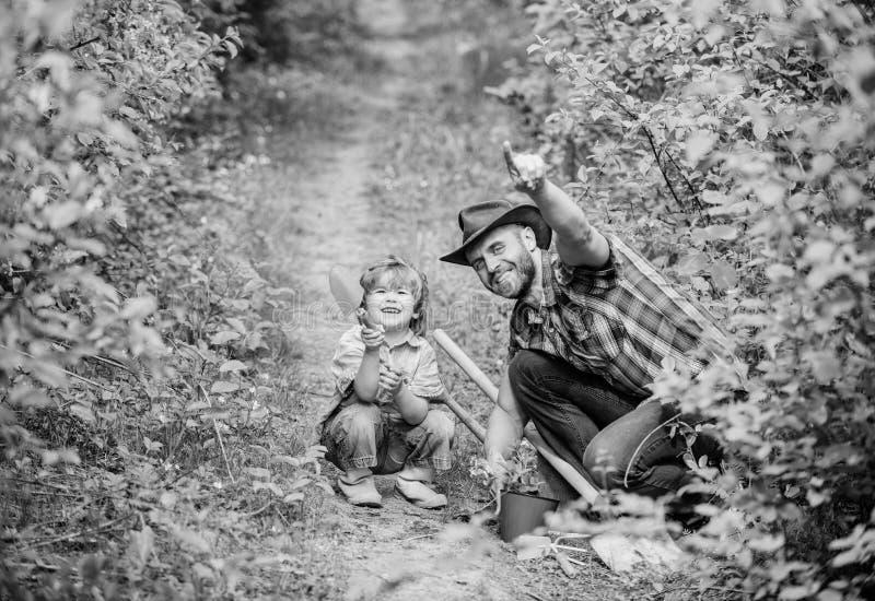Blij weekend vader en zoon in cowboyhoed op boerderij Ecolandbouwbedrijf kleine de hulpvader van het jongenskind in de landbouw h stock foto's