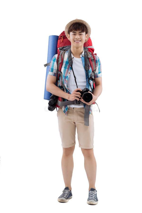 Blije Aziatische wandelaar stock afbeelding