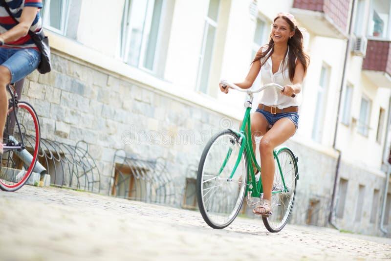 Blije fietser royalty-vrije stock foto