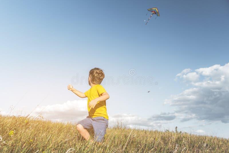 Blije jong geitje vliegende vlieger bij platteland stock foto