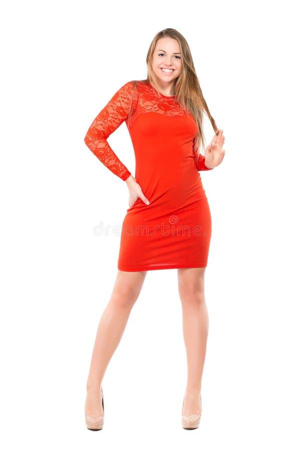 Blije jonge blonde vrouw stock foto