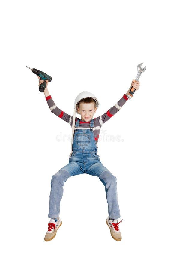 Blije Jongensbouwer Fitter stock fotografie