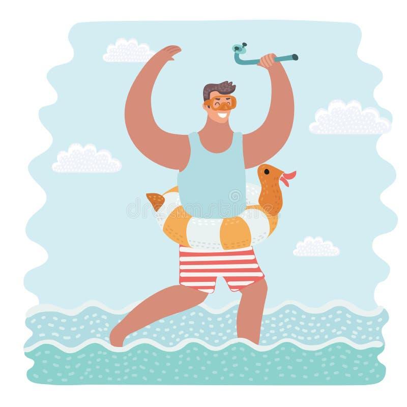 Blije Kaukasische mens die opblaasbaar rubberring en het duiken masker dragen met vector illustratie