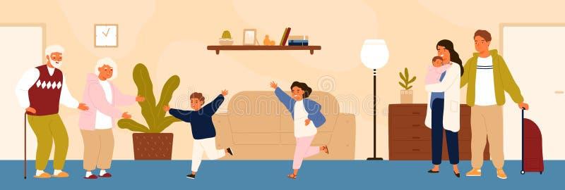 Blije kleinkinderen die hun grootouders ontmoeten Gelukkige familie bezoekende grootvader en grootmoeder Kleinzoon en stock illustratie