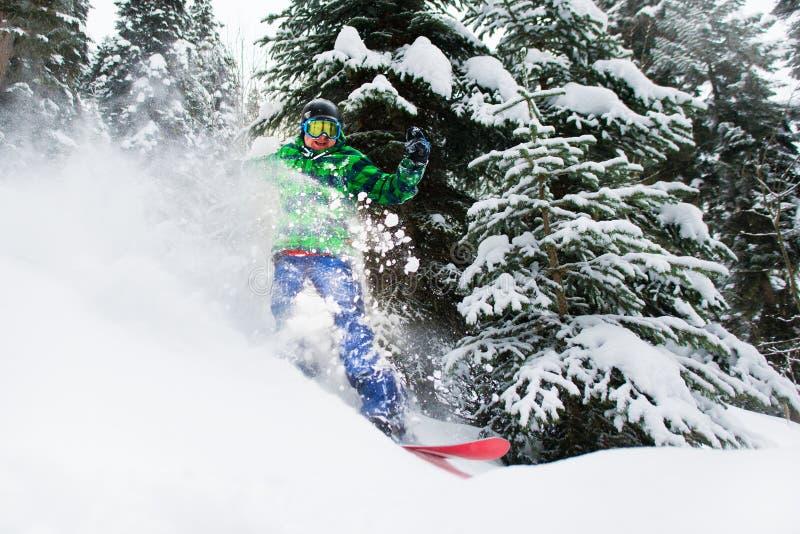 Blije mannelijke snowboarderritten die in bos tot een nevel van sneeuw leiden royalty-vrije stock foto