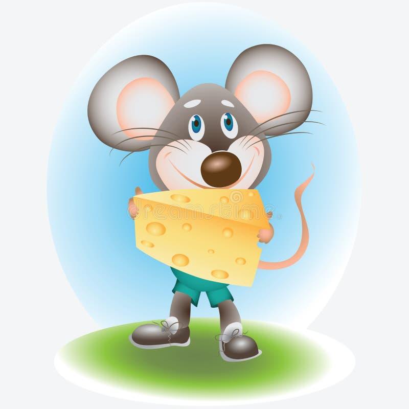 Blije Muis en kaas vector illustratie