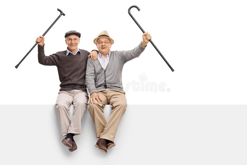Blije oudsten met het lopen van riet die op een paneel zitten stock foto