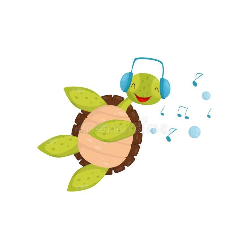 Blije schildpad die en het luisteren muziek zwemmen Grappige schildpad in blauwe hoofdtelefoons Marien reptiel met bruine shell v stock illustratie