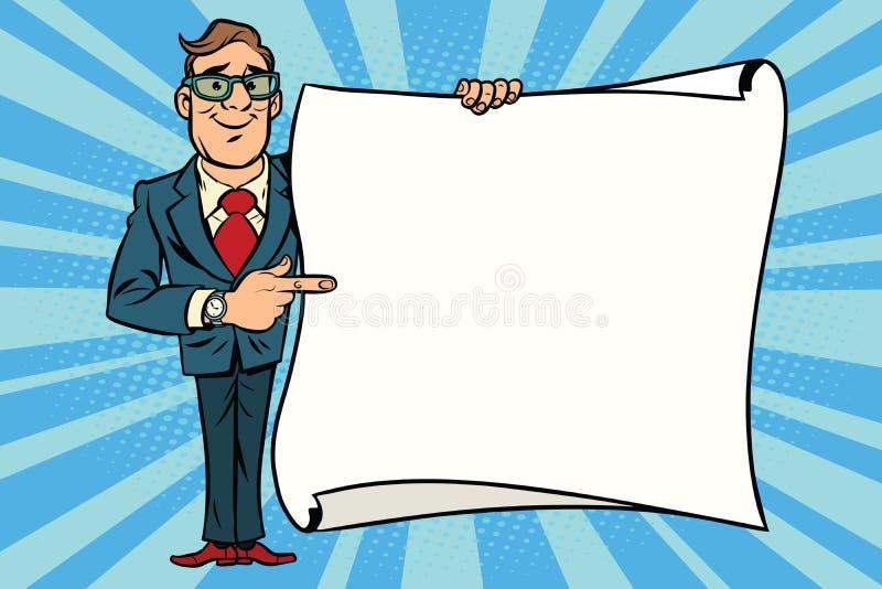 Blije zakenman die op de ruimteaffiche van het modelexemplaar tonen stock illustratie