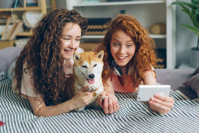 Blije zusters die selfie met aanbiddelijke het gebruiken smartphone thuis nemen van een hond stock fotografie