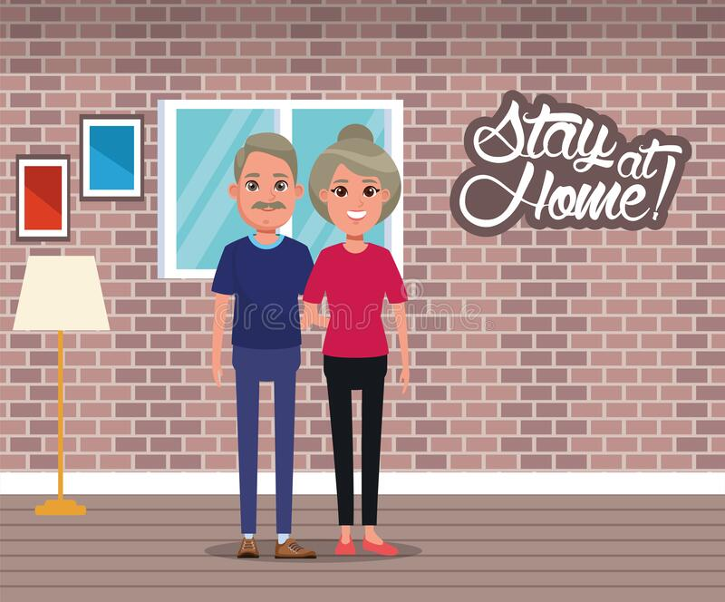Blijf thuis campagne voeren met een paar stock illustratie