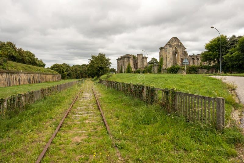 Blijft van Abbaye Notre-Dame du Voeu of Abdij van de Gelofte in Cherbourg Basse Normandie, Frankrijk stock foto's