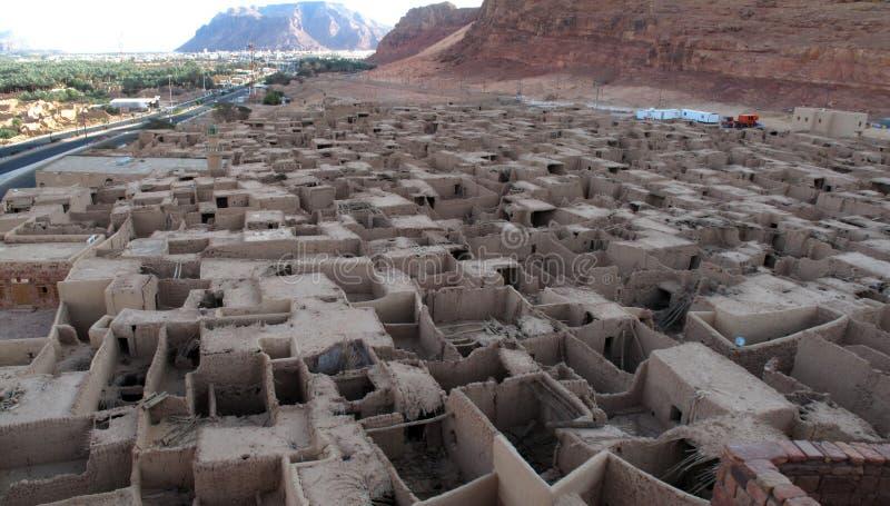 Blijft van de oude stad van Al- 'Ula dichtbij Madain Saleh in Saudi-Arabië KSA royalty-vrije stock afbeelding