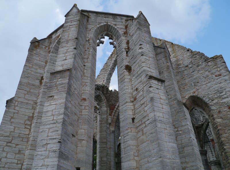 Blijft van een kerk in Visby in Zweden stock fotografie