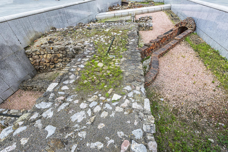 Blijft van het Roman militaire kamp in Michaelerplatz in Wenen royalty-vrije stock foto's