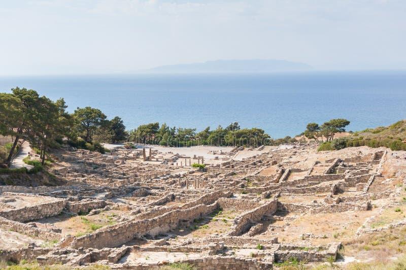 Blijft van Oude die Stad van Kamiros, Hellenistic-Stad door Homerus, Grieks Eiland wordt vermeld Rhodos Griekenland europa royalty-vrije stock afbeeldingen