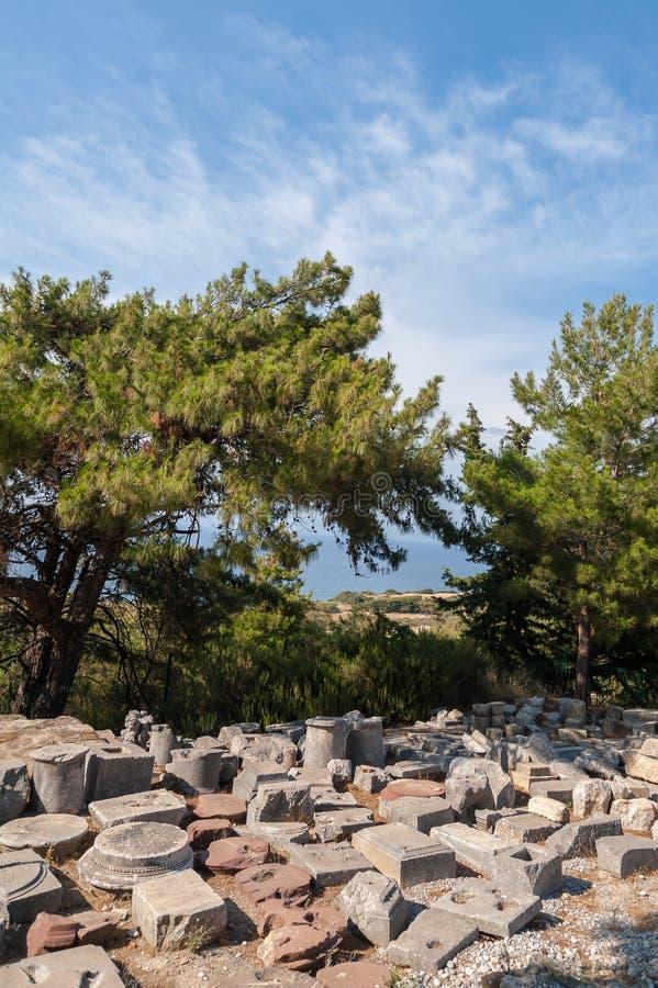 Blijft van Oude die Stad van Kamiros, Hellenistic-Stad door Homerus wordt vermeld Pliths exavated van plaats gezet op vertoning i stock foto's