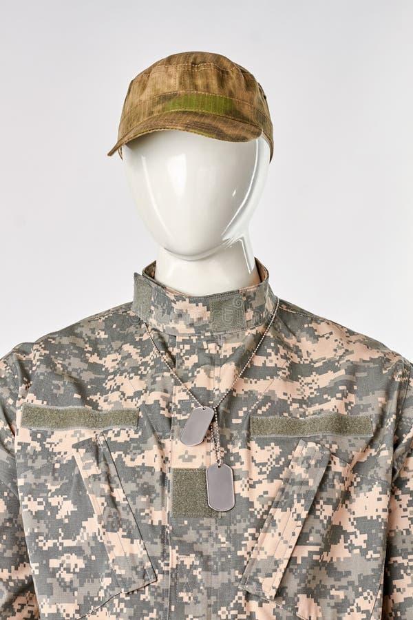 Blik van militair met GLB en hondmarkering, vooraanzicht royalty-vrije stock foto