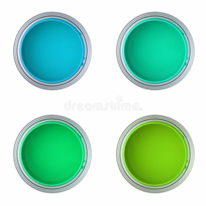 Blikken met blauwe en groene verf stock fotografie
