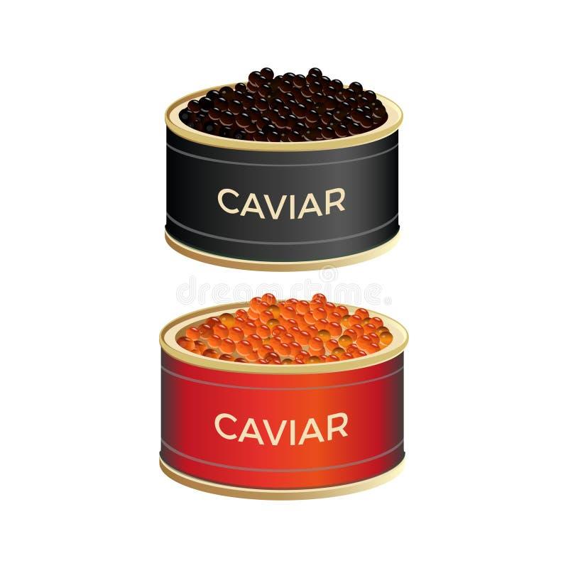 Blikken met kaviaar vector illustratie