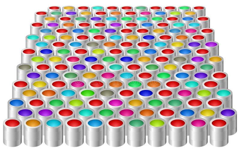 Blikken met kleurenverf royalty-vrije illustratie
