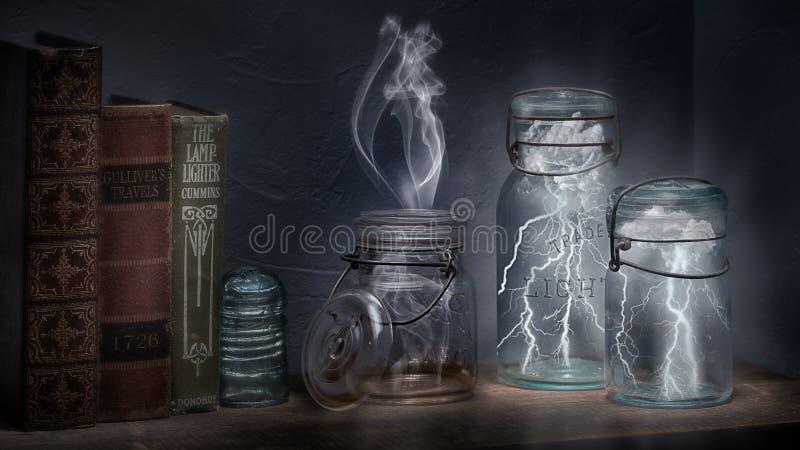 Bliksem in een fles stock afbeelding