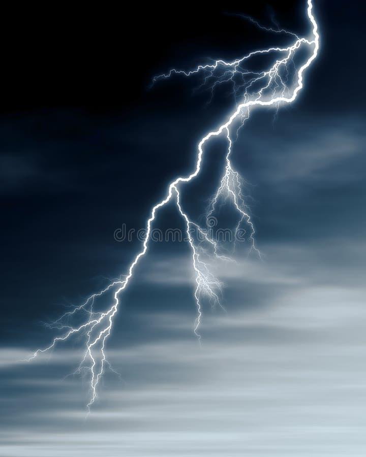 Bliksem en onweerswolken stock illustratie