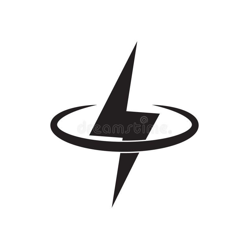 Bliksem, het ontwerpelement van het stroom vectorembleem Energie en donder het concept van het elektriciteitssymbool het teken va vector illustratie
