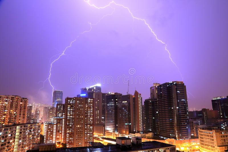 Bliksem in Hong Kong stock afbeeldingen