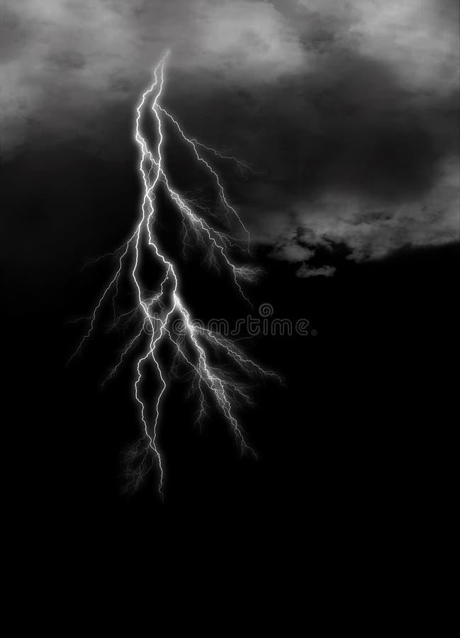 Bliksem op sombere bewolkte duisternis vector illustratie