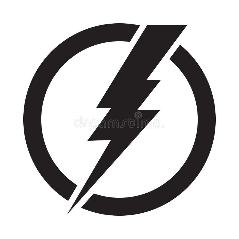 Bliksembout in cirkel, het vectorpictogram van de elektriciteitsmacht vector illustratie