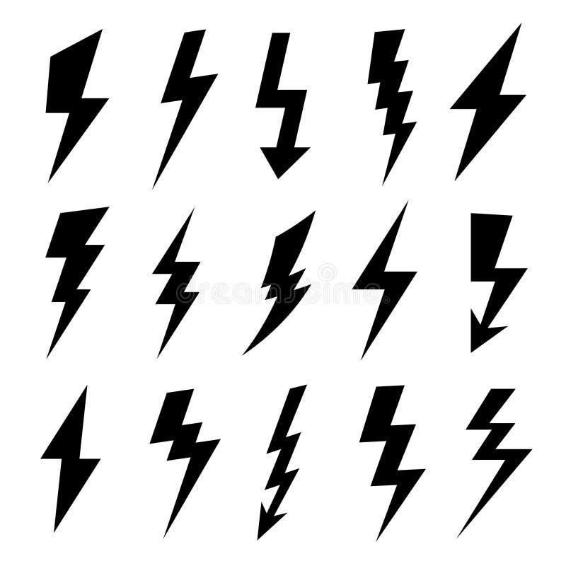 Blikseminslagsilhouet Het elektroflitspictogram, het elektrische hoge machtsvoltage en de donderbliksem silhouetteren pictogramme stock illustratie