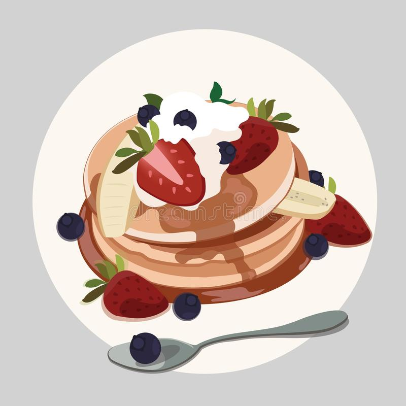 Blin z truskawką, czarną jagodą i Klonowym syropem, ilustracji