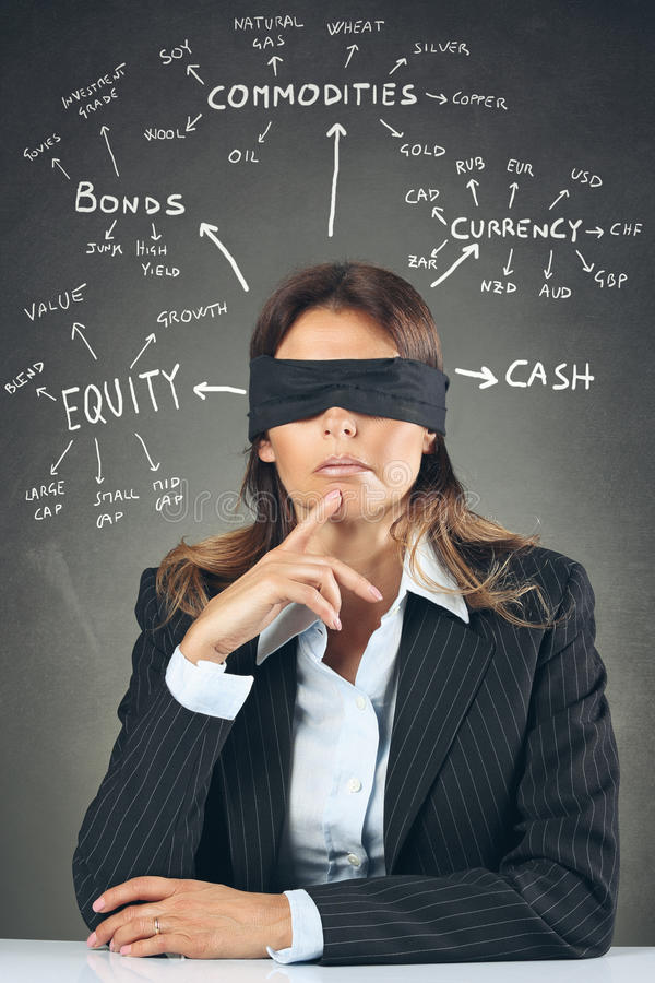 Blind asset allocation. Businesswoman blindfolded deciding asset allocation . Financial indecision conceptual royalty free stock image