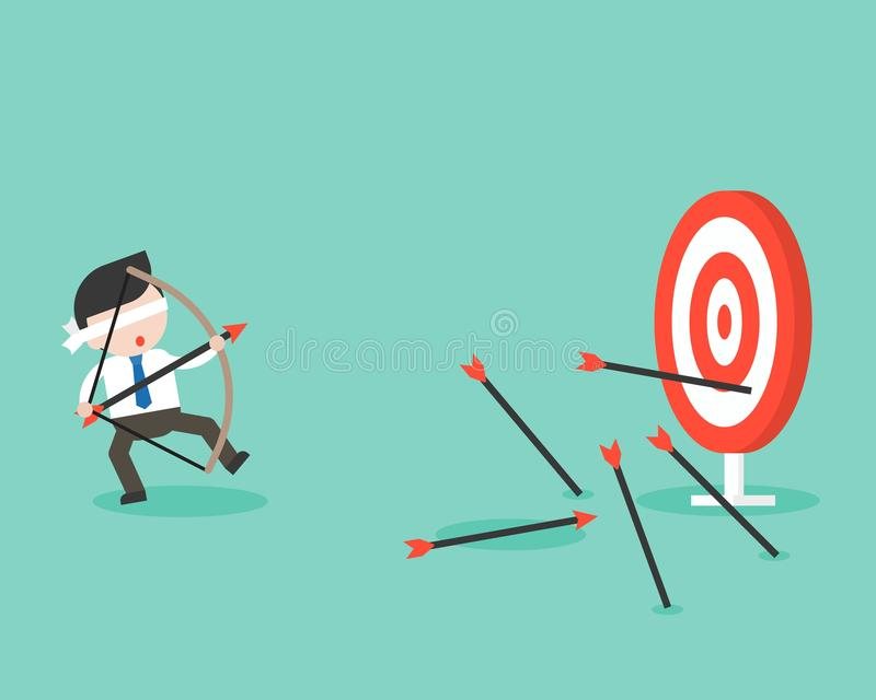 Blind businessman try to use bow and arrow for archery but missing the goal , business situation ready to use. Flat design royalty free illustration